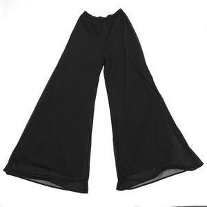 vtg S womans wide leg flare pants mesh sparkles